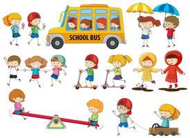 Conjunto de niños del doodle