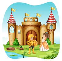 Knight and princess with castel