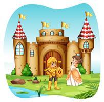 Cavaleiro e princesa com castel
