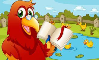 Um papagaio perto da lagoa, mostrando um livro vazio