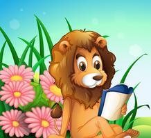 Un león leyendo un libro en el jardín.