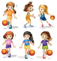 Little female basketball players