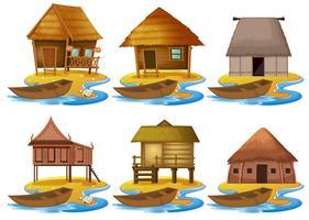 Set van verschillende houten huis