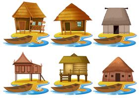 Set of different wooden house