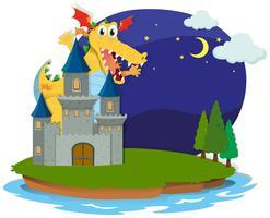 Castillo y dragón en la isla.
