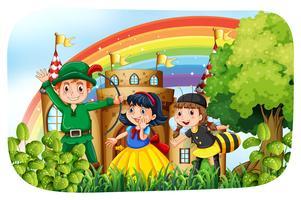 Kinderen in kostuum met plezier in het park