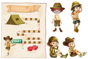 Game template with kids in safari outfit
