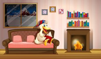 Un pato leyendo un libro al lado de una chimenea.