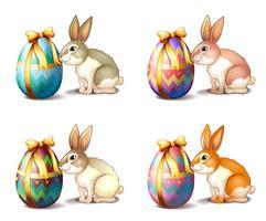 Vier Kaninchen in verschiedenen Farben