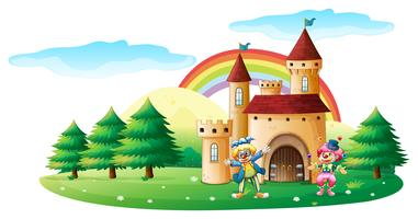 Two clowns in front of a castle