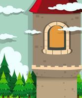 Torre del castello e alberi di pino