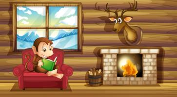 A monkey reading at the chair near the fireplace