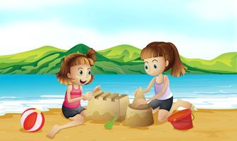 Two friends making a castle at the beach vector