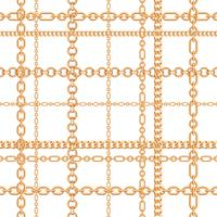 Gold chains seamless pattern. Vector illustration