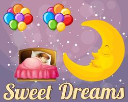 Chica en la cama y palabra dulce sueño.