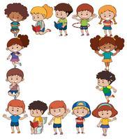 Gränsmall med barn i olika handlingar