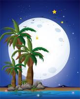Una luna llena brillante y el mar azul.
