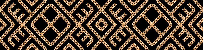 Seamless pattern of Gold chain geometrical ornament on black background. Vector illustration