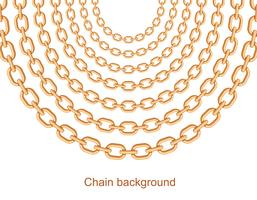 Background with chains golden metallic necklace. On white