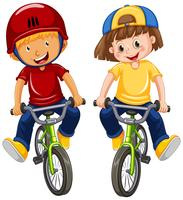 Urban Boys Riding Bicycle on White Background vector