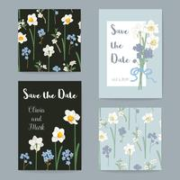 Floral Greeting Cards Set. Vector illustration