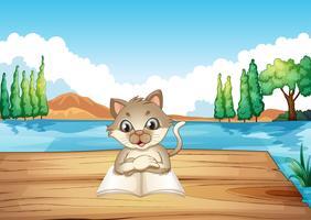 Un gato leyendo un libro en el puerto.