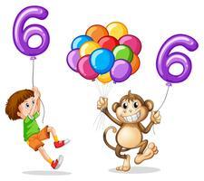 Niño y mono con globo numero seis.