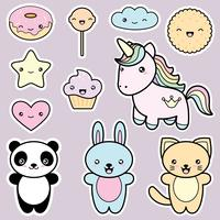 Set collection of cute kawaii style labels