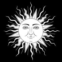 Sun with human face symbol. Vector illustration.