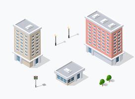Icono web de la infraestructura de la ciudad isométrica 3D, urbana.