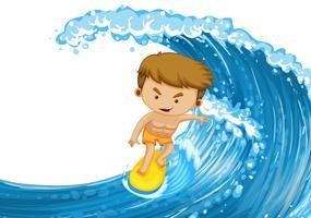 Homme surfant sur la grande vague
