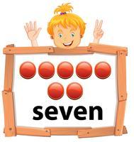 Ragazza che mostra l'insegna di numero sette