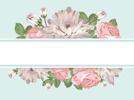 Floral card template with empty frame