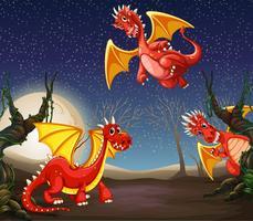 Red dragon at night