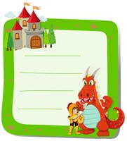 Paper design with dragon and knight