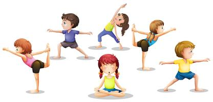 Children stretching
