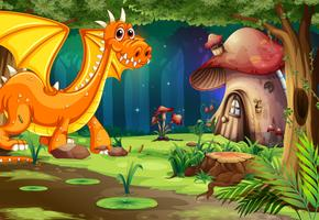 Dragon in Dark Forest and Mushroom House