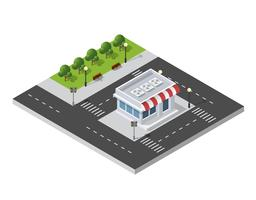 District of the city street houses Isometric vector