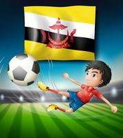 Bandera de brunei y futbolista