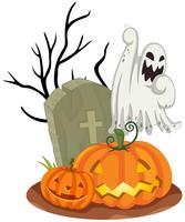 Ghost at Graveyard on Halloween