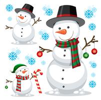 different snowman on white template vector