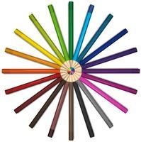 Lápices de colores en círculo