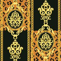 Seamless damask pattern. Gold on black and animal leopard texture with chains. Vector illustration