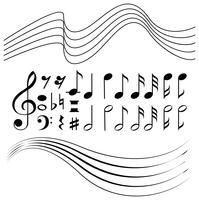 Verschiedene Symbole für Musiknoten und Zeilenpapier