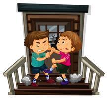 Två pojke kämpar på trappan
