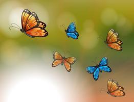 Um papel especial com borboletas laranja e azuis