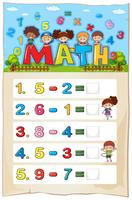 Worksheet design for subtraction
