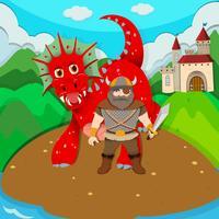 Viking and dragon on island