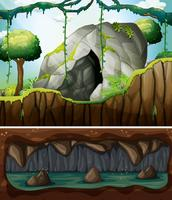 A cave entrance and underground scene