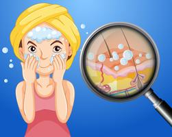 Une jeune femme nettoyant le visage